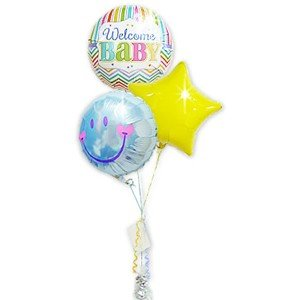 welcome baby!ベビーシャワーの飾りつけにも☆ 出産祝<男の子>ブライツウェルカム&スマイルブルー3バルーンセット wac-up
