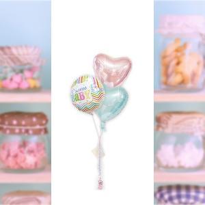 ベビーシャワーにもおすすめ ブルーとピンクで男女の双子にも! 出産祝ブライツウェルカム パステル3バルーンセット wac-up