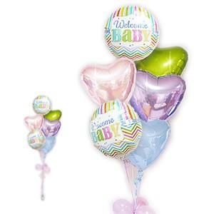 こんにちは、赤ちゃん♪ 男の子にも女の子にも使えるカラー 出産祝ブライツウェルカム パステル6バルーンセット(159F5)(BY00016002) wac-up