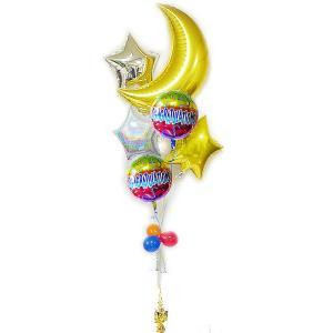 パーティー 装飾 お祝い バルーンギフト キラキラ ゴージャス バルーン電報 CGレインボー ムーンスター6バルーンセット|wac-up