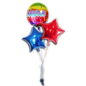 祝電 お祝い カラフル バルーンギフト プレゼント バルーン電報 CGレインボーカラー3バルーンセット|wac-up