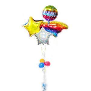 おめでとう パーティー 祝電 お祝い バルーンギフト スター 星 バルーン電報 CGレインボー流星3バルーンセット|wac-up
