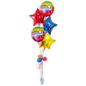 開店祝い 祝電 ギフト プレゼント バルーンギフト バルーン電報 CGレインボー スター5バルーンセット|wac-up