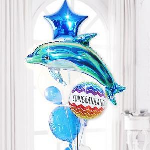新築祝い お祝い スタイリッシュ 空間 ギフト いるか バルーンギフト バルーン電報 CGシューティング&ブルードルフィン5バルーンセット|wac-up