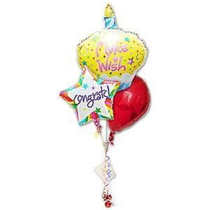 バルーン電報 お祝い プレゼント ギフト カップケーキ CGカラフルスター3バルーンセット|wac-up