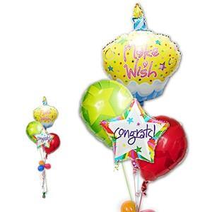 お祝い バルーン ギフト 祝電 プレゼント カップケーキ CGカラフルスター4バルーンセット|wac-up
