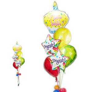 おめでとう お祝い バルーンギフト 祝電 装飾 カップケーキ CGカラフルスター6バルーンセット|wac-up