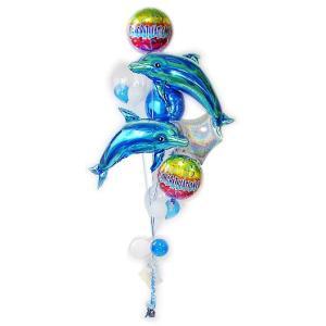 コンサート 発表会 お祝い 装飾 バルーンギフト ドルフィン 青系 CGレインボー 【ブルー】いるかスペシャル8バルーンセット|wac-up