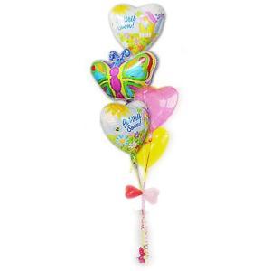 お見舞い品 花 明るい色のバルーン プレゼント ギフト 蝶々 お見舞い ブライトバタフライ5バルーンセット|wac-up