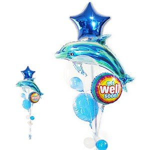 お見舞用 バルーン電報 いるか 青 プレゼント 癒し効果 お見舞いスーンラディアント&ブルードルフィン5バルーンセット|wac-up