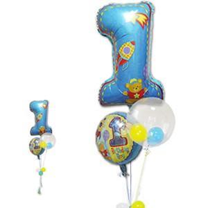 バルーン 1歳 誕生日 バースデー バルーンギフト 男の子 1歳誕生日ファーストシェイプ3バルーンセット|wac-up