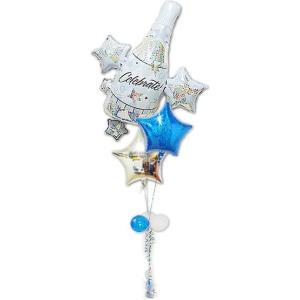 バルーン電報 バルーン 結婚式 クラスター セレブレーション ブルー3バルーンセット|wac-up
