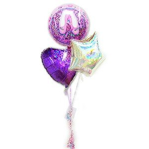 バレエ 発表会 プレゼント 花束の代わりに トゥインクルバレエ☆キラリン パープル3バルーンセット|wac-up