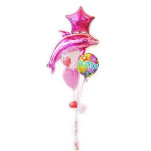 母の日ギフト 感謝 ありがとう お礼 プレゼント バルーン電報 バルーンギフト TKレトロ&ピンクドルフィン5バルーンセット(TK00065101)|wac-up