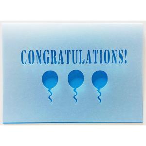 無料カードからアップグレード♪ CONGRATULATIONS 【メッセージカード:二つ折りカッティング おめでとうバルーン(青)】開店祝い 入園・入学|wac-up
