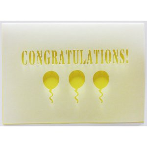 無料カードからアップグレード♪ CONGRATULATIONS 【メッセージカード:二つ折りカッティング おめでとうバルーン(黄色)】開店祝い 入園・入学|wac-up