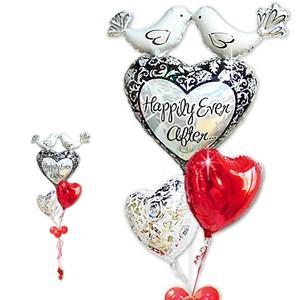 バルーン電報 結婚式 あすつく 結婚祝いハピリーバード レッド3バルーンセット(補充缶付き) バルーン電報 即日出荷|wac-up