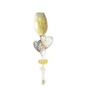 結婚式 バルーン電報 祝電 乾杯 LVゴールドドット シャンパングラス3バルーンセット|wac-up