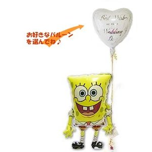 結婚式 誕生日 電報 出産祝い キャラクター ビキニタウン 海綿 ひょこひょこスポンジボブワンバルーンセット wac-up
