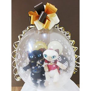 バルーン電報 記念日 誕生日 ぬいぐるみバルーンラッピング:まつ毛猫ペア<シャム&黒猫>|wac-up