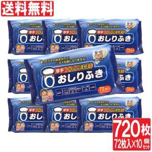 おしりふき トイレに流せる 厚手 大人用 720枚 (72枚入り 10セット) ヒアルロン酸配合 弱酸性 ノンアルコール 無香料 日本製 送料無料|wagonsale-kanahashi