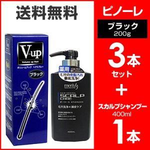 ピノーレ V−up ボリュームアップヘアスプレー ブラック 200g 3本 セット スカプルシャンプー セット 増毛スプレー 4530896200117|wagonsale-kanahashi