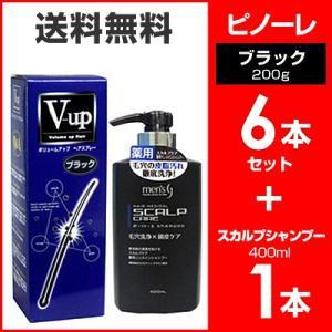 ピノーレ V−up ボリュームアップヘアスプレー ブラック 200g 6本 セット スカプルシャンプー セット 増毛スプレー 4530896200117|wagonsale-kanahashi