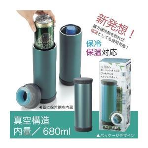 缶・ペットボトルがぴったり入るステンレスポット(保冷) 景品 粗品 販促品 記念品 プチギフト 水筒 アウトドアグッズ