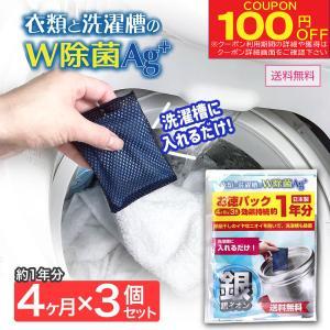 衣類と洗濯槽のW除菌Ag+ 3個入(約1年分)洗濯槽の除菌・抗菌・ニオイ・カビに 銀系無機抗菌剤 日本製 クリーナー 部屋干しに メール便 送料無料 ポイント消化