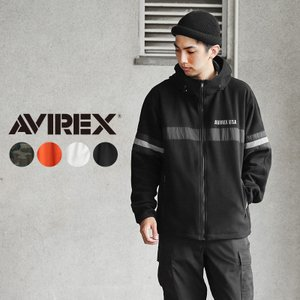 AVIREX アビレックス 6102186 BIG LOGO フリース ジップ パーカー メンズ フリースジャケット ミリタリー アウター ブランド 新作【クーポン対象外】|waiper