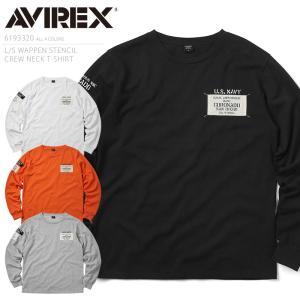 AVIREX アビレックス 6193320 L/S WAPPEN STENCIL クルーネックTシャ...