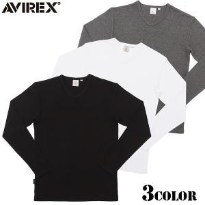 AVIREX アビレックス アヴィレックス デイリーウエア ミニワッフル Vネック長袖Tシャツ 6123208 ブランド|waiper