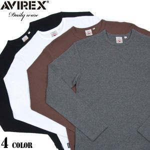 クーポンで20%OFF!  AVIREX アビレックス アヴィレックス デイリーウエア ミニワッフル クルーネック 長袖 Tシャツ 4色 6143333 waiper