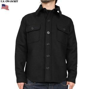 ミリタリージャケット 新品 米軍 C.P.O.ウールジャケット ブラック ウールシャツ ミリタリーシ...
