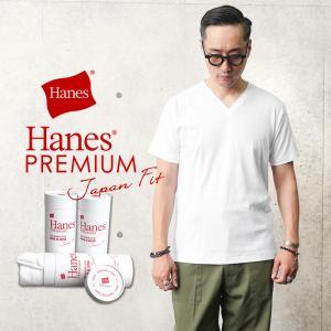 Hanes ヘインズ HM1-F002 PREMIUM JAPAN FIT Vネック Tシャツ WH...
