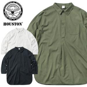 HOUSTON ヒューストン 40510 プルオーバー スリーピングシャツ メンズ ミリタリーシャツ パジャマシャツ 長袖 バンドカラー 厚手 ブランド 2019 新作|waiper