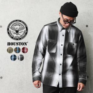 HOUSTON ヒューストン 40763 オンブレチェック ビエラ ヴィンテージ ワークシャツ メンズ レディース ネルシャツ アメカジ 厚手 肉厚 ミリタリー ブランド 新作|waiper