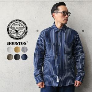 HOUSTON ヒューストン 40765 ストライプ ビエラ ヴィンテージ ワークシャツ メンズ レディース ネルシャツ アメカジ 厚手 肉厚 ミリタリー ブランド 新作|waiper