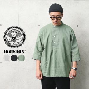 HOUSTON ヒューストン 40852 コットンリネン シャンブレー 3/4 SLEEVE グランパシャツ メンズ ミリタリーシャツ 七分袖 ノーカラーシャツ ブランド 春 夏|waiper