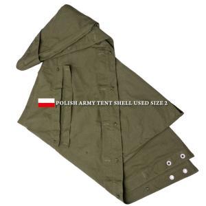 実物 USED ポーランド軍 テントシェル OLIVE テントシート パップテント 軍幕 ポンチョ ...