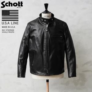 Schott ショット 641 シングルレザーライダース 6061 メンズ 革ジャン ライダースジャ...
