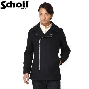 店内20%OFFセール! Schott ショット 779 ウール ジップ ピーコート Pコート メンズ アウター ブルゾン ウールコート 7505 ブランド|waiper