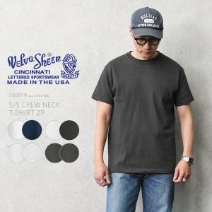 Velva Sheen ベルバシーン 160919 S/S クルーネック Tシャツ 2枚組 MADE IN USA メンズ カットソー 半袖 無地 丸首 アメリカ製 ブランド|waiper