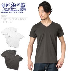 Velva Sheen ベルバシーン 160921 S/S Vネック Tシャツ 2枚組 MADE IN USA アメリカ製 メンズ 半袖 カットソー 無地 インナー ブランド|waiper