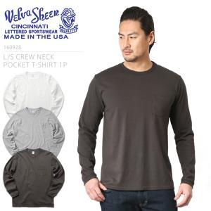Velva Sheen ベルバシーン 160928 L/S クルーネック ポケットTシャツ MADE IN USA メンズ ロンT 長袖 無地 カットソー インナー ポケT アメカジ ブランド|waiper