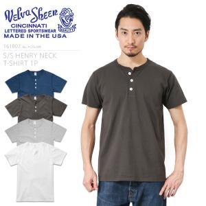Velva Sheen ベルバシーン S/S ヘンリーネック Tシャツ 161007 MADE IN USA メンズ 半袖 カットソー 無地 アメリカ製 人気|waiper