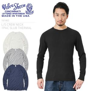 Velva Sheen ベルバシーン MADE IN USA 161462 L/S クルーネック スラブサーマル パックTシャツ メンズ 長袖 ロンT 無地 ワッフル ブランド アメリカ製|waiper