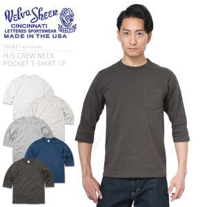 Velva Sheen ベルバシーン 161831 H/S クルーネック ポケットTシャツ MADE IN USA メンズ カットソー インナー 七分袖 無地 アメカジ アメリカ製 ブランド|waiper