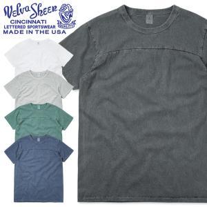 Velva Sheen ベルバシーン 161833 PIGMENT S/S クルーネック フットボール Tシャツ MADE IN USA 後染め メンズ カットソー アメリカ製アメカジ ブランド|waiper
