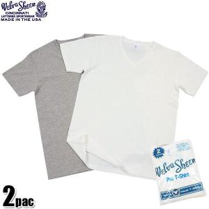 店内15%OFFクーポン出現中! Velva Sheen ベルバシーン 2PAC ポケット付き Vネック 半袖 Tシャツ 無地 WHITE + H.GREY 2枚組 USA パックTシャツ ブランド waiper